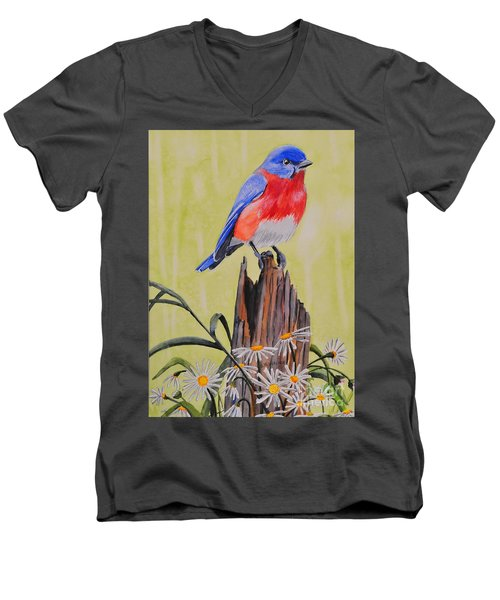 Bluebird And Daisies Men's V-Neck T-Shirt
