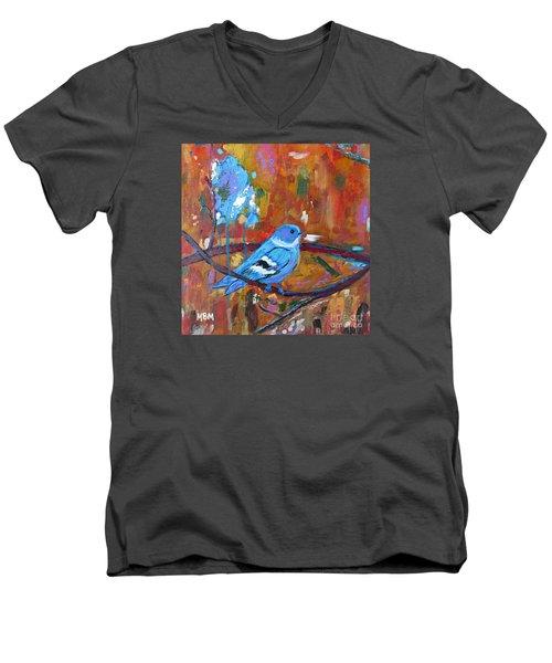 Bluebird In Autumn Men's V-Neck T-Shirt