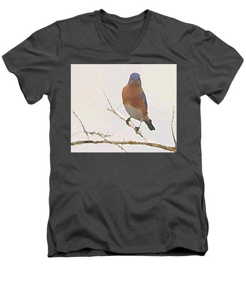 Men's V-Neck T-Shirt featuring the digital art Bluebird Stare  by Shelli Fitzpatrick