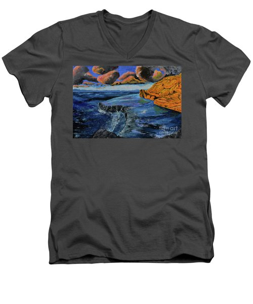 Blue,blue Ocean With Clouds Men's V-Neck T-Shirt