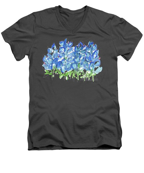 Bluebonnet Dance Watercolor By Kmcelwaine Men's V-Neck T-Shirt