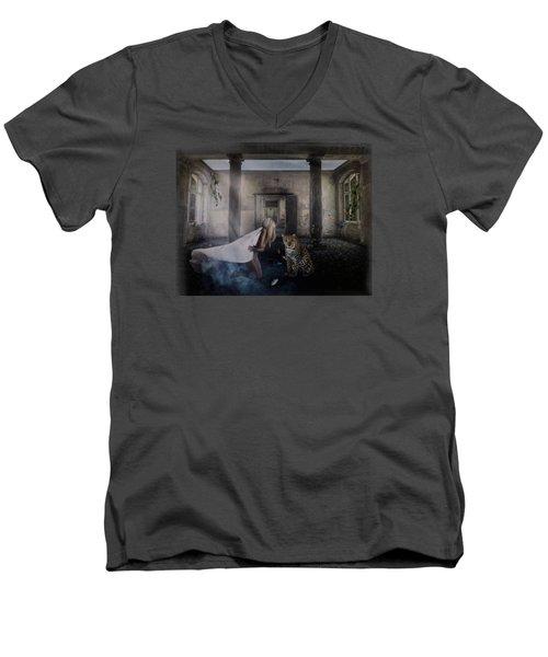 Bluebonnet Hall Men's V-Neck T-Shirt by Terry Fleckney