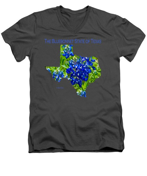 Bluebonnet State Of Texas - T-shirt Men's V-Neck T-Shirt by Robert J Sadler