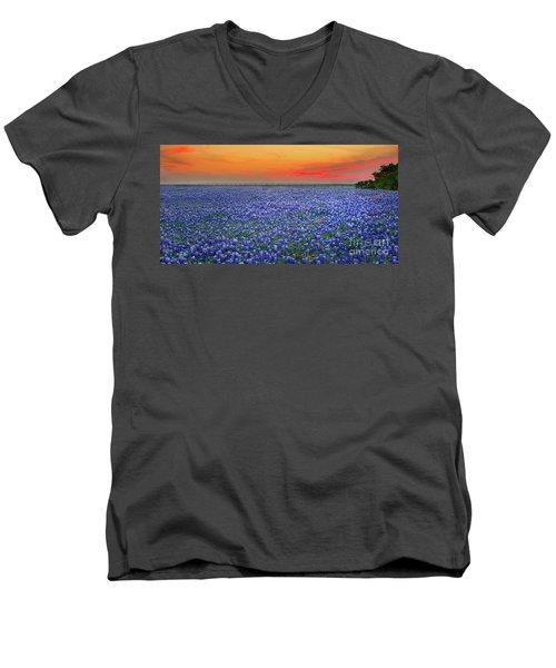 Bluebonnet Sunset Vista - Texas Landscape Men's V-Neck T-Shirt by Jon Holiday