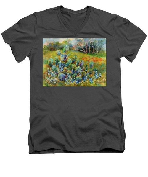 Bluebonnets And Cactus Men's V-Neck T-Shirt