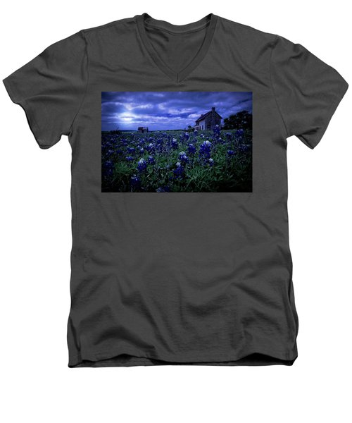 Men's V-Neck T-Shirt featuring the photograph Bluebonnets In The Blue Hour by Linda Unger