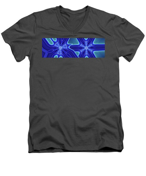 Men's V-Neck T-Shirt featuring the digital art Blued by Ron Bissett
