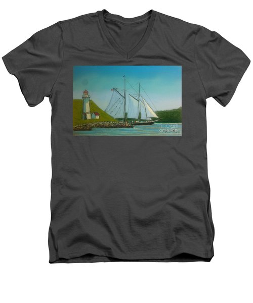 Bluenose Passing Georges Island Men's V-Neck T-Shirt by Rae  Smith