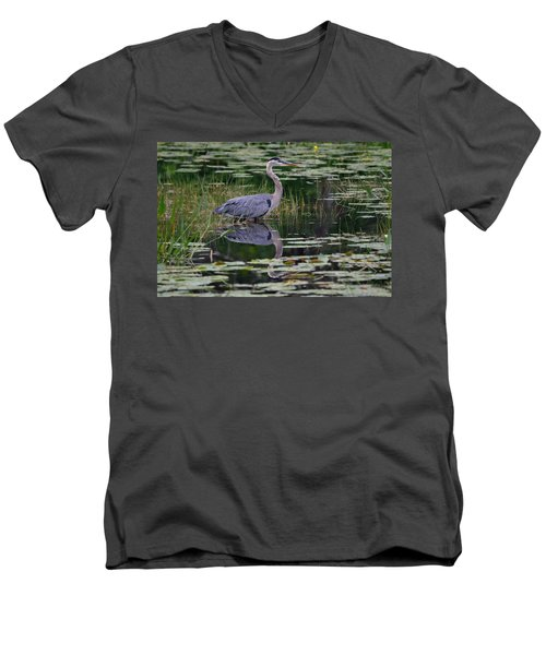 Blue's Image- Great Blue Heron Men's V-Neck T-Shirt