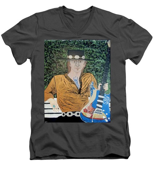 Men's V-Neck T-Shirt featuring the painting Blues In The Park With Stevie Ray Vaughan. by Ken Zabel