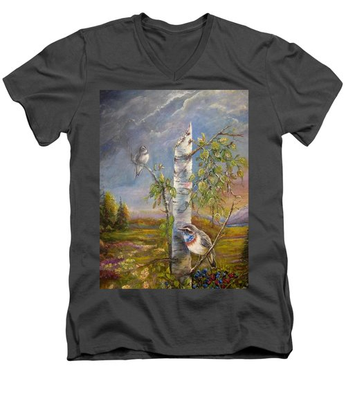 Men's V-Neck T-Shirt featuring the painting Bluethroat On The Tundra by Patricia Schneider Mitchell