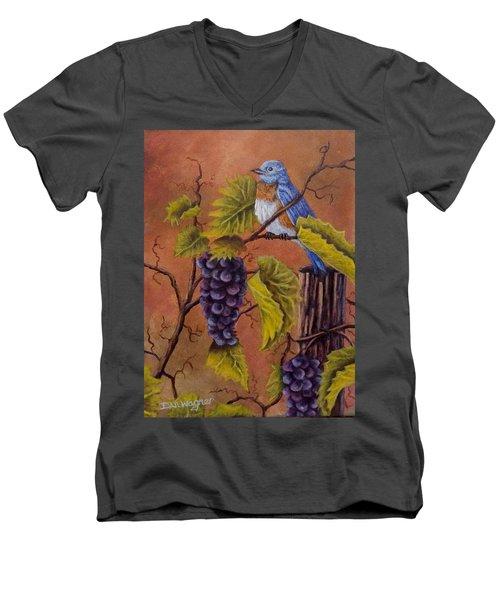 Bluey And The Grape Vine Men's V-Neck T-Shirt by Dan Wagner