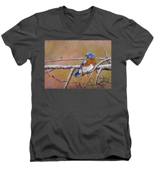 Men's V-Neck T-Shirt featuring the painting Bluey by Dan Wagner