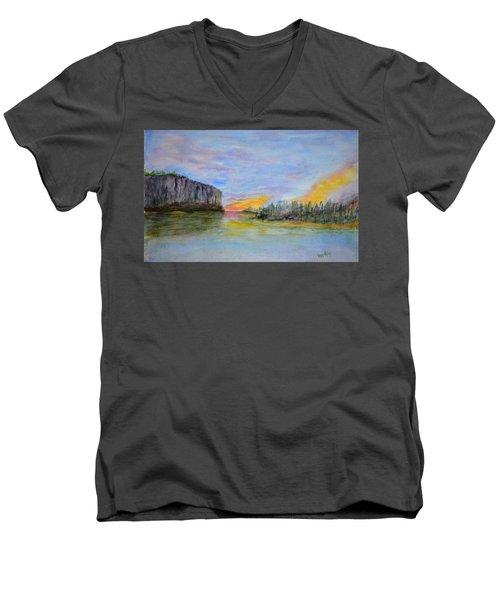 Bluffs At Sunset Men's V-Neck T-Shirt