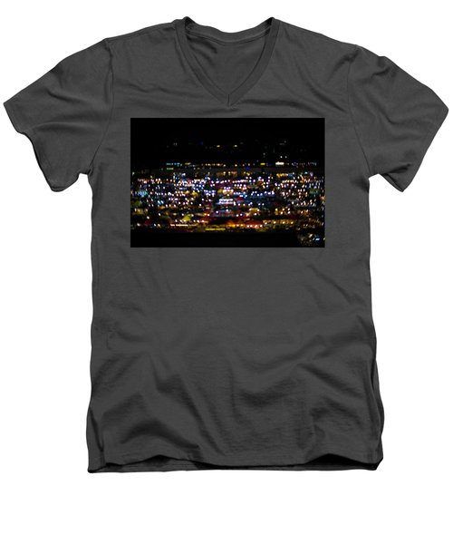 Men's V-Neck T-Shirt featuring the photograph Blurred City Lights  by Jingjits Photography