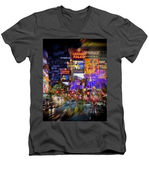 Blurry Vegas Nights Men's V-Neck T-Shirt