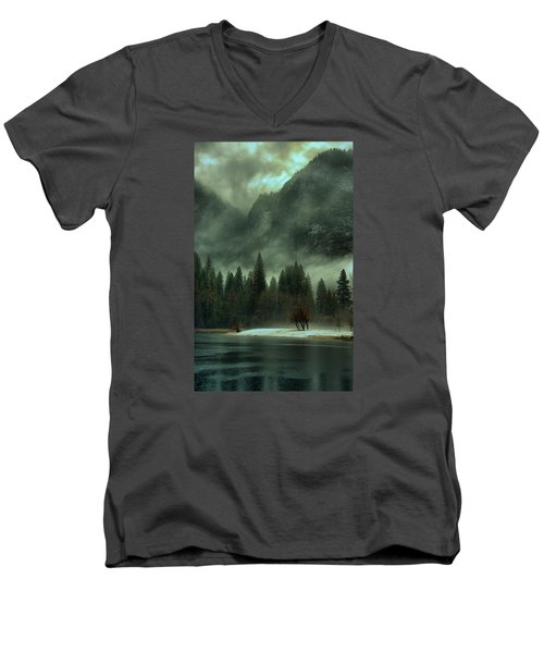 Blustery Yosemite Men's V-Neck T-Shirt by Josephine Buschman