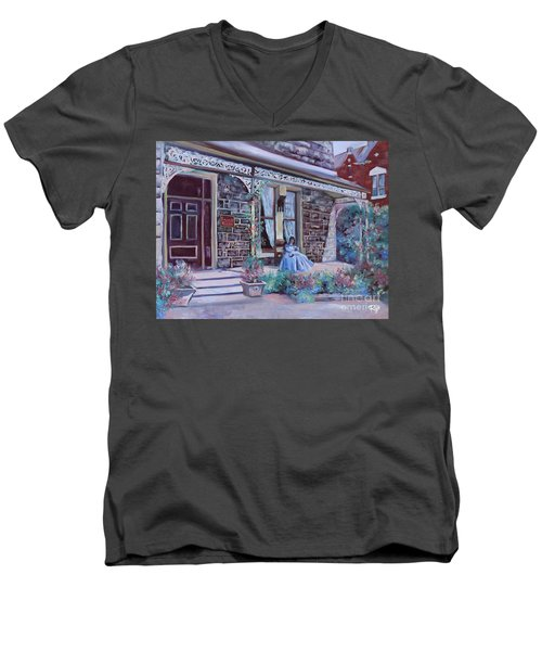 Men's V-Neck T-Shirt featuring the painting Blythewood Grange Ballarat by Ryn Shell