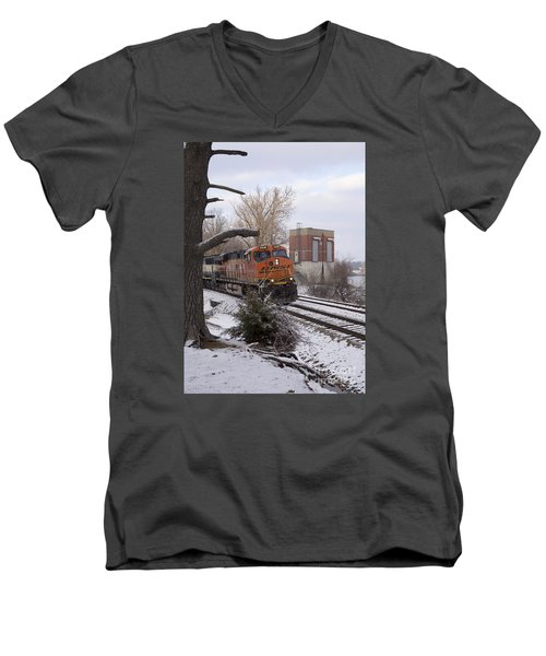 Men's V-Neck T-Shirt featuring the photograph Bnsf 6338 - Train Photo by Jane Eleanor Nicholas