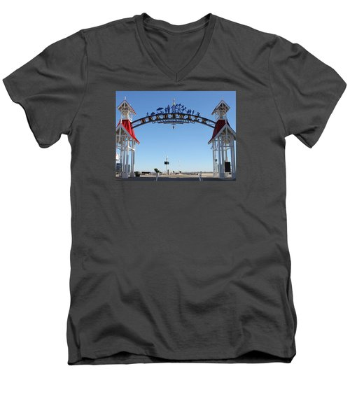 Boardwalk Arch At N Division St Men's V-Neck T-Shirt by Robert Banach