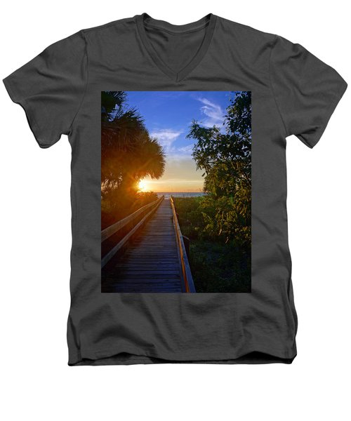 Sunset At The End Of The Boardwalk Men's V-Neck T-Shirt
