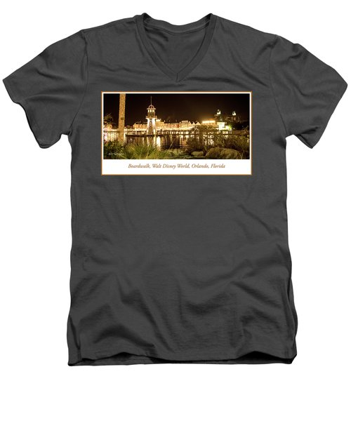Boardwalk At Night, Walt Disney World Men's V-Neck T-Shirt by A Gurmankin