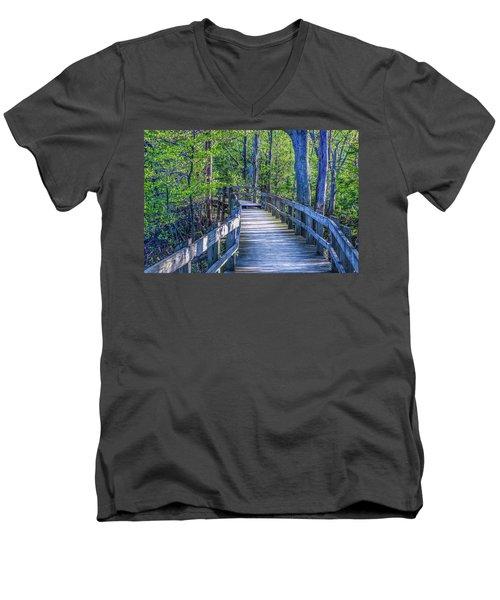 Boardwalk Going Into The Woods Men's V-Neck T-Shirt