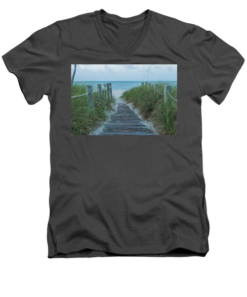 Men's V-Neck T-Shirt featuring the photograph Boardwalk To The Beach by Kim Hojnacki