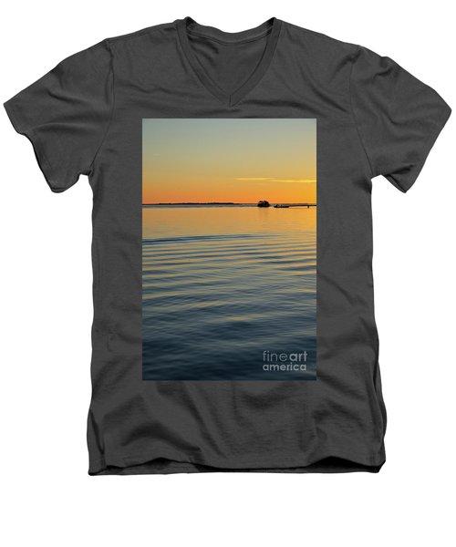 Boat And Dock At Dusk Men's V-Neck T-Shirt