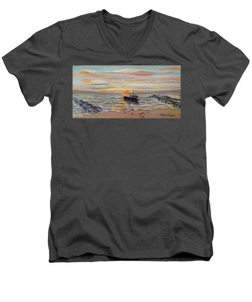 Boat At Dawn Men's V-Neck T-Shirt