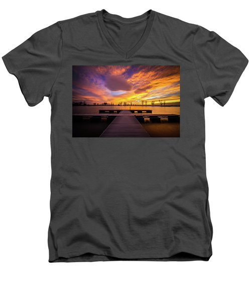 Men's V-Neck T-Shirt featuring the photograph Boat Dock Sunset by Wesley Aston