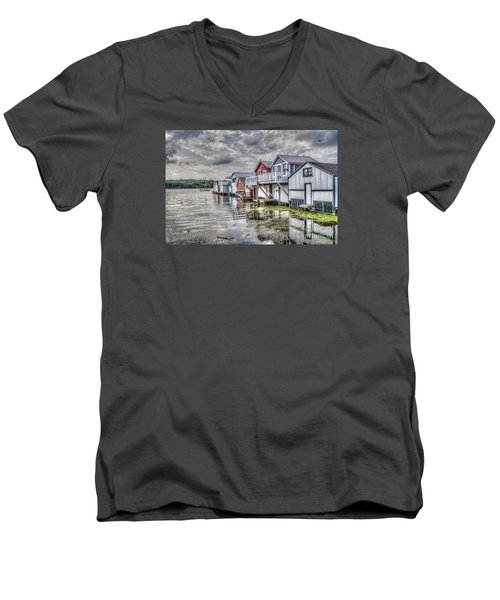 Boat Houses In The Finger Lakes Men's V-Neck T-Shirt