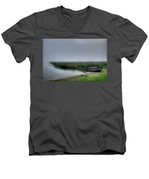 Boat In The Fog Men's V-Neck T-Shirt