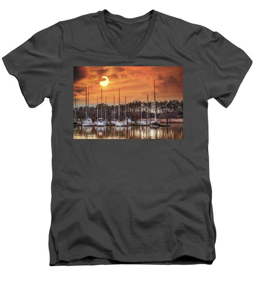 Boat Marina On The Chesapeake Bay At Sunset Men's V-Neck T-Shirt