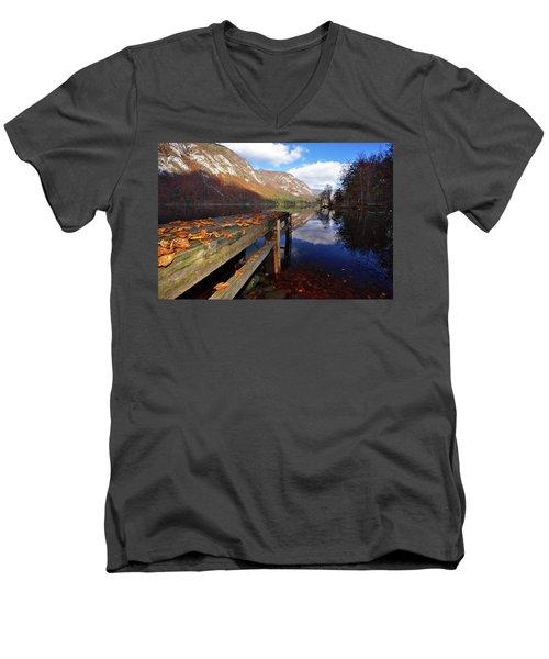 Boat Mooring At Lake Bohijn Men's V-Neck T-Shirt by Graham Hawcroft pixsellpix