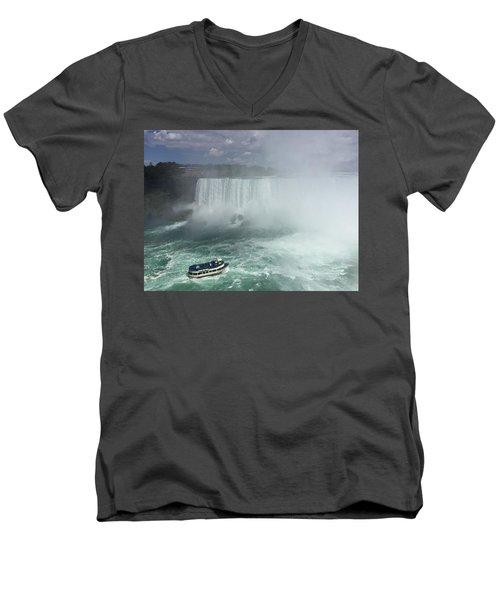 Boat Near Niagara Falls Men's V-Neck T-Shirt