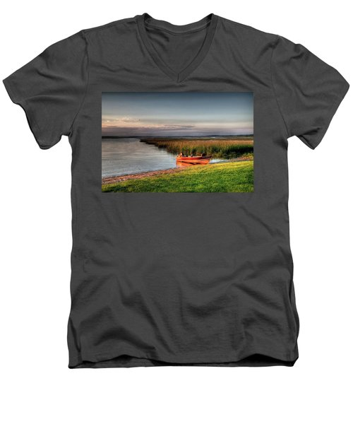 Boat On A Minnesota Lake Men's V-Neck T-Shirt