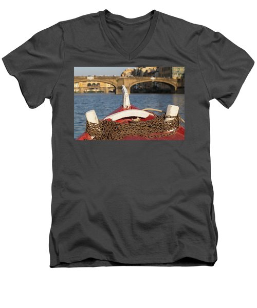 Boat On The Arno River,  Men's V-Neck T-Shirt
