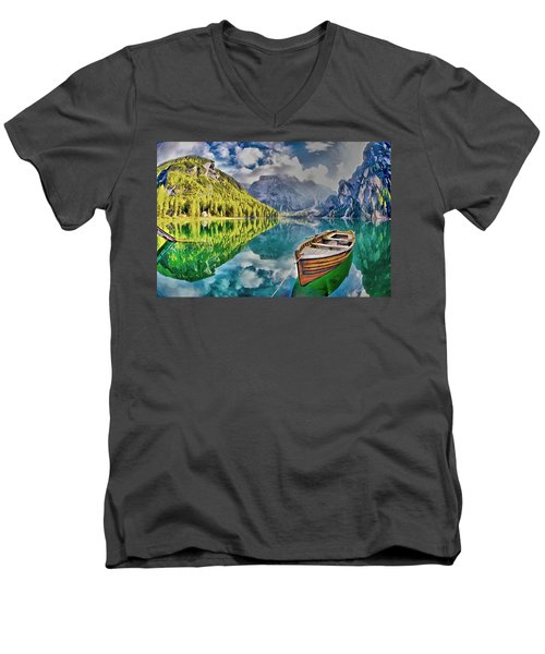 Boat On The Lake Men's V-Neck T-Shirt
