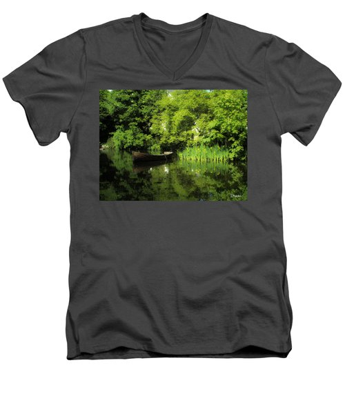 Boat Reflected On Water County Clare Ireland Painting Men's V-Neck T-Shirt