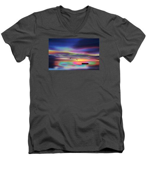 Boat Sunset Men's V-Neck T-Shirt