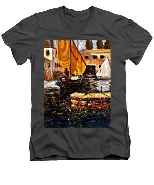 Boat With Golden Sail,san Vigilio  Men's V-Neck T-Shirt by Cristina Mihailescu