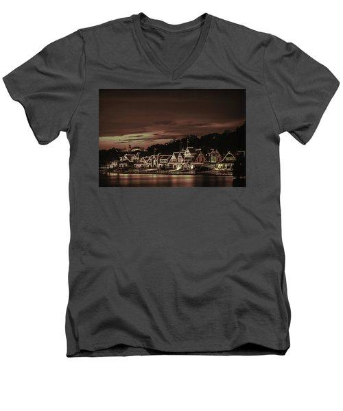 Boathouse Row Philadelphia Pa Night Retro Men's V-Neck T-Shirt