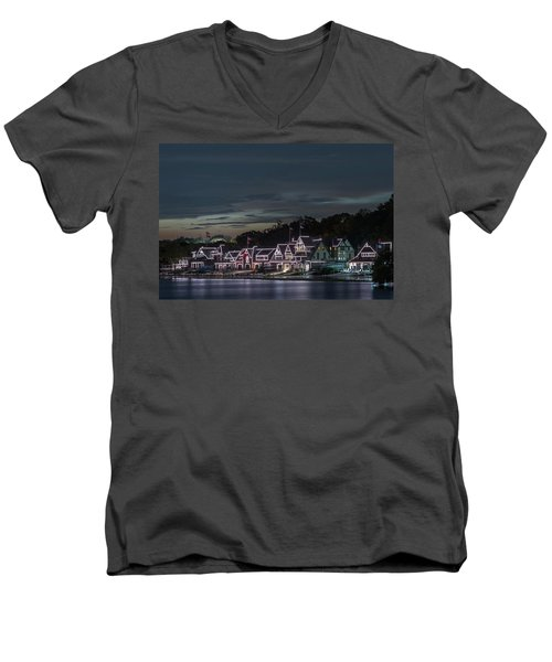 Boathouse Row Philly Pa Night Men's V-Neck T-Shirt by Terry DeLuco