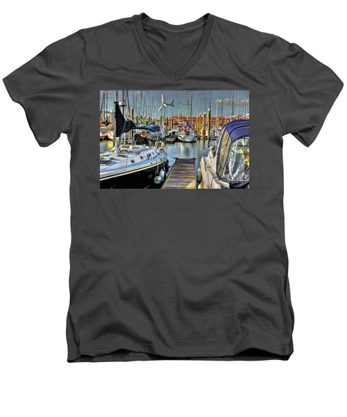 Boats At Kemah Men's V-Neck T-Shirt