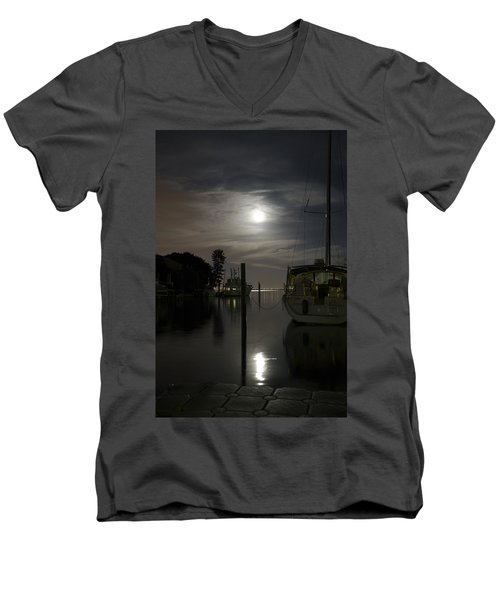 Boats At Moon Rise Men's V-Neck T-Shirt