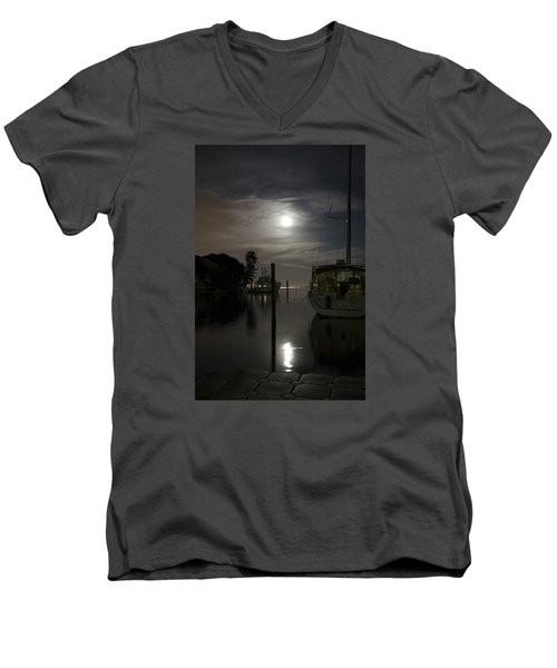 Boats At Moon Rise Men's V-Neck T-Shirt