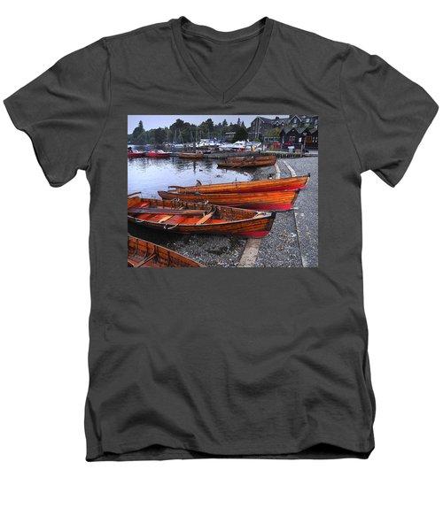 Boats At Windermere Men's V-Neck T-Shirt