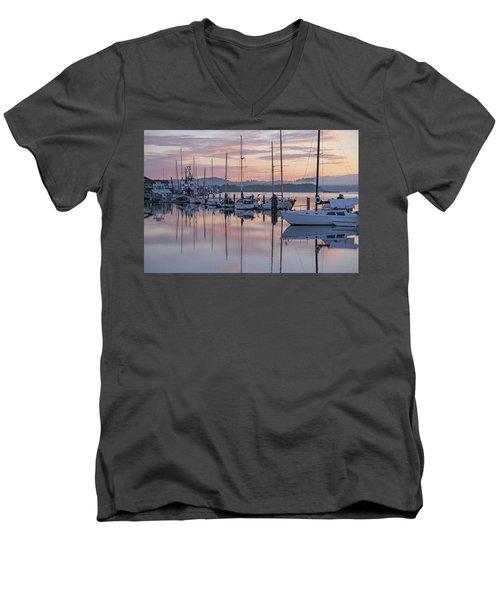 Boats In Pastel Men's V-Neck T-Shirt by Suzy Piatt