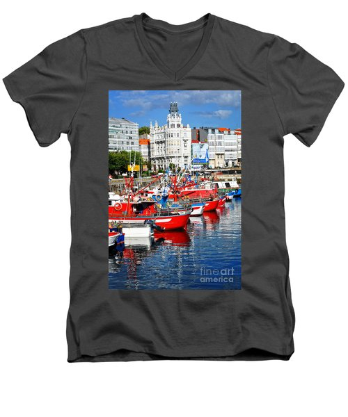 Boats In The Harbor - La Coruna Men's V-Neck T-Shirt by Mary Machare